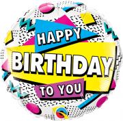 BALÃO METALIZADO REDONDO HAPPY BIRTHDAY TO YOU - 18 POLEGADAS - QUALATEX #88063