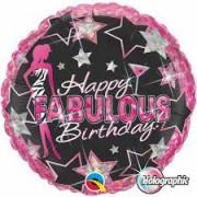 BALÃO METALIZADO REDONDO HAPPY FABULOUS BIRTHDAY  - 18 POLEGADAS - QUALATEX #35320