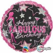BALÃO METALIZADO REDONDO HAPPY FABULOUS BIRTHDAY  - 18 POLEGADAS - QUALATEX #35320