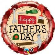 BALÃO METALIZADO REDONDO HAPPY FATHER'S DAY FERRAMENTAS 18 POLEGADAS - QUALATEX #24206