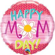 BALÃO METALIZADO REDONDO HAPPY MOM DAY - 9 POLEGADAS - QUALATEX #73654