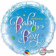 BALÃO METALIZADO REDONDO HOLOGRAPHIC WELCOME BABY BOY STARS - 18 POLEGADAS - QUALATEX #35312