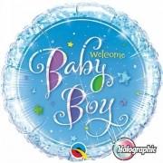 BALÃO METALIZADO REDONDO HOLOGRAPHIC WELCOME BABY BOY STARS - 18 POLEGADAS - QUALATEX #35312