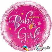 BALÃO METALIZADO REDONDO HOLOGRAPHIC WELCOME BABY GIRL STARS - 18 POLEGADAS - QUALATEX #35316