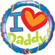 BALÃO METALIZADO REDONDO I LOVE DADDY 18 POLEGADAS - QUALATEX  #55821