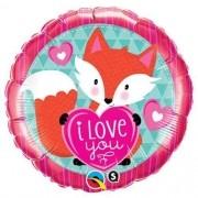 BALÃO METALIZADO REDONDO LOVE YOU FOXY HEART - 18 POLEGADAS - QUALATEX #23459