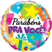 BALÃO METALIZADO REDONDO PARABÉNS PARA VOCÊ! PRESENTES  - 18 POLEGADAS - QUALATEX #58022