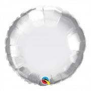BALÃO METALIZADO REDONDO PRATA CHROME  - 18 POLEGADAS - QUALATEX  #89529