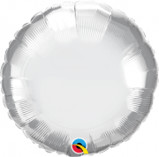 BALÃO METALIZADO REDONDO PRATA CHROME  - 18 POLEGADAS - QUALATEX  #89982