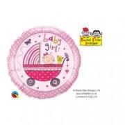 BALÃO METALIZADO REDONDO RACHEL ELLEN - BABY GIRL STROLLER - 18 POLEGADAS - QUALATEX #50294