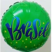 BALÃO METALIZADO REDONDO VAI BRASIL! ESTRELAS  - 18 POLEGADAS - QUALATEX  #84425