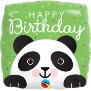 BALÃO METALIZADO - SQUARE BIRTHDAY PANDA - 18 POLEGADAS - QUALATEX #	87995