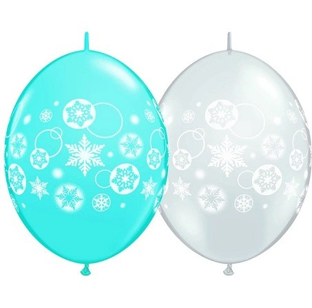 BALÃO 12 POLEGADAS Q-LINK  SNOWFLAKES & CIRCLES-COLUMN  PC 50 QUALATEX #11417