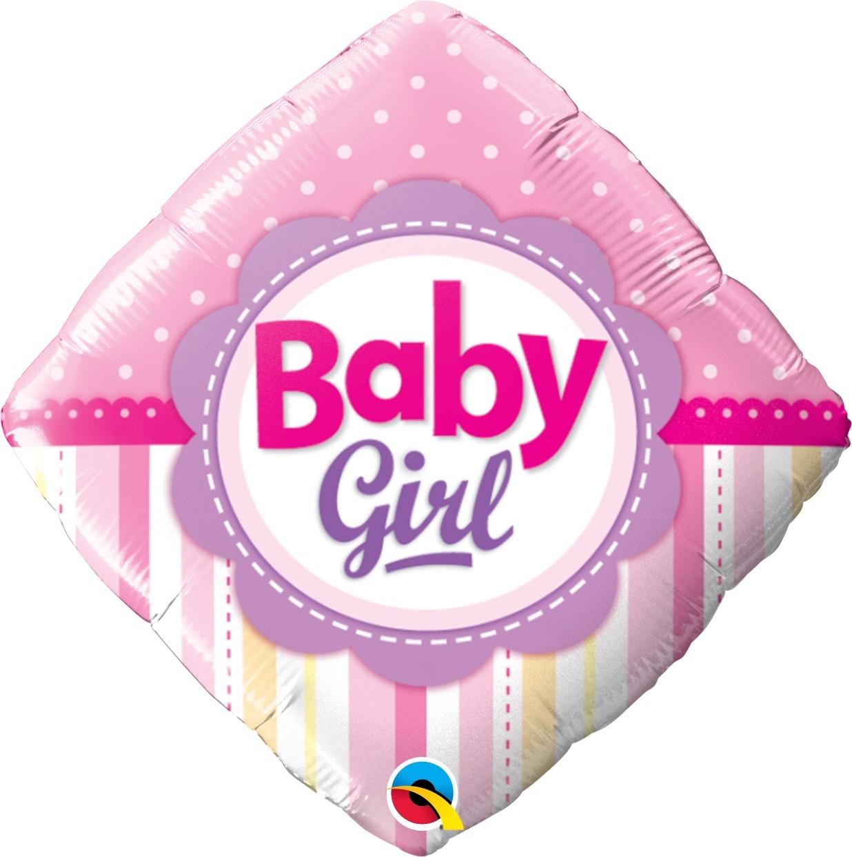 BALÃO 18 POLEGADAS BABY GIRL PONTOS E LISTRAS QUALATEX  #14383