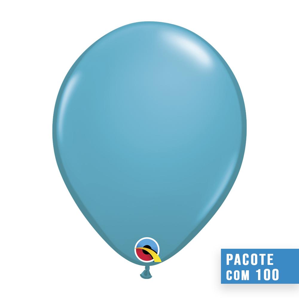 BALÃO AZUL PETRÓLEO TROPICAL 11 POLEGADAS PC100UN QUALATEX #43799