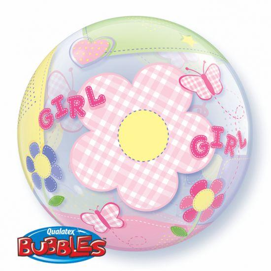 BALÃO BUBBLE BABY GIRL BUTTERFLIES  - 22 POLEGADAS - QUALATEX #69729
