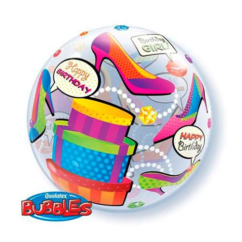 BALÃO BUBBLE BIRTHDAY GIRL SHOPPING SPREE - 22 POLEGADAS  - QUALATEX #27563