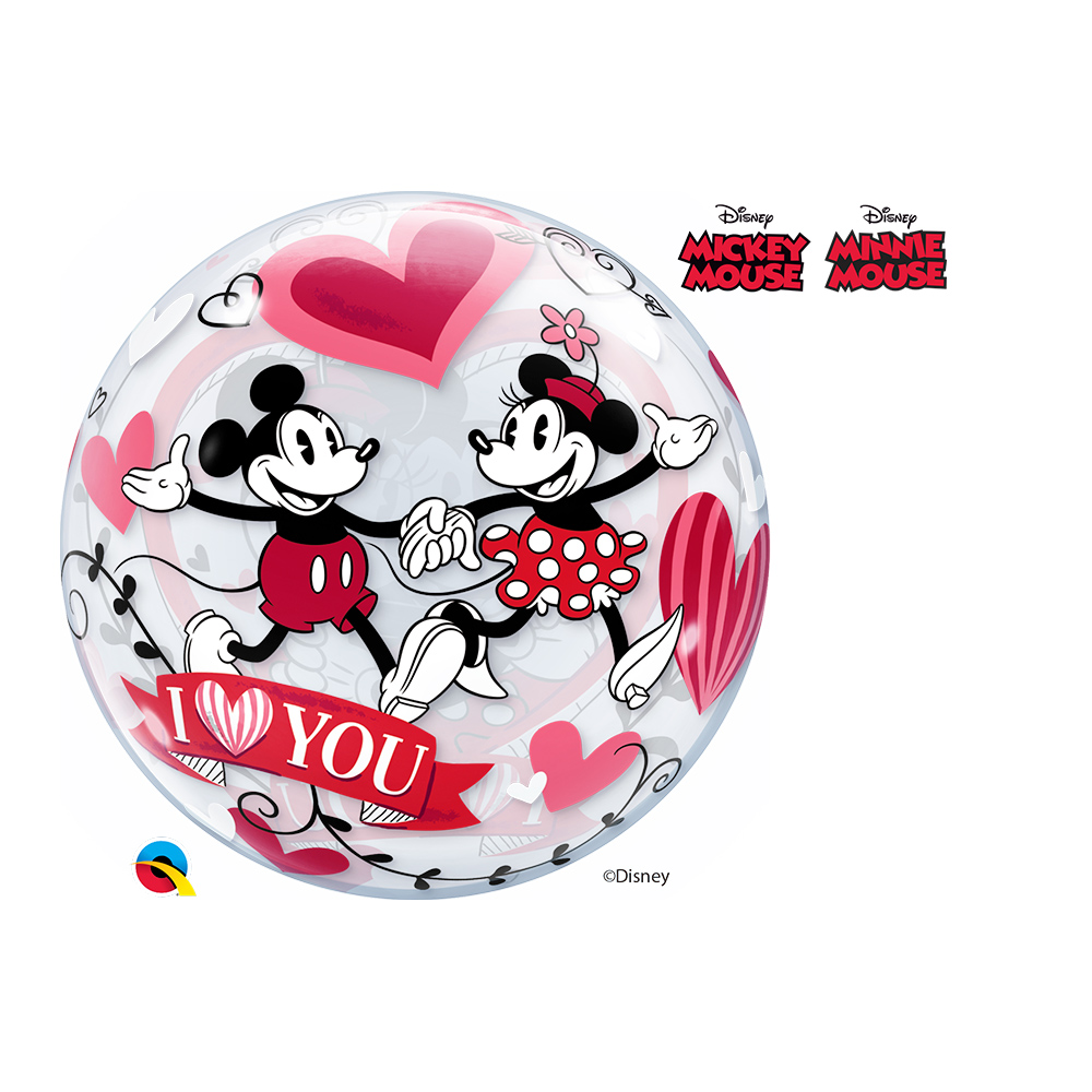 BALÃO BUBBLE EU TE AMO COM MICKEY E MINNIE DA DISNEY - 22 POLEGADAS  - QUALATEX #21892
