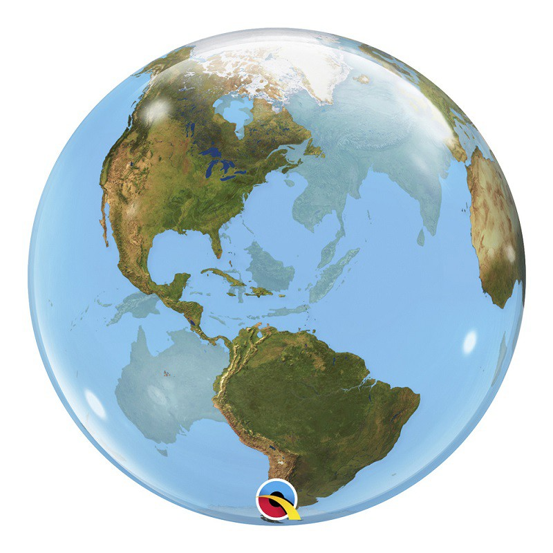 BALÃO BUBBLE PLANETA TERRA - 22 POLEGADAS  - QUALATEX #16871