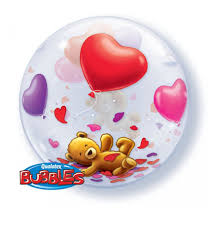 BALÃO BUBBLE TEDDY BEAR'S FLOATING HEARTS  - 22 POLEGADAS - QUALATEX #65205