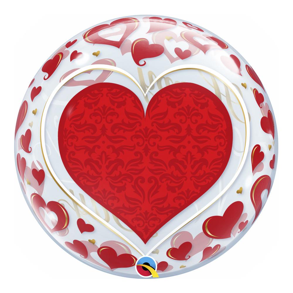 BALÃO BUBBLE VALENTINE'S DAY HEARTS - 22 POLEGADAS  - QUALATEX #21895