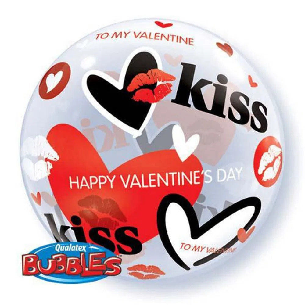 BALÃO BUBBLE  VALENTINE'S KISSES - 22 POLEGADAS - QUALATEX #27539