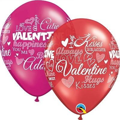 BALÃO DE LÁTEX 11 POLEGADAS SORTIDO SWEET VALENTINE'S MESSAGES PC 50 -  QUALATEX #40303