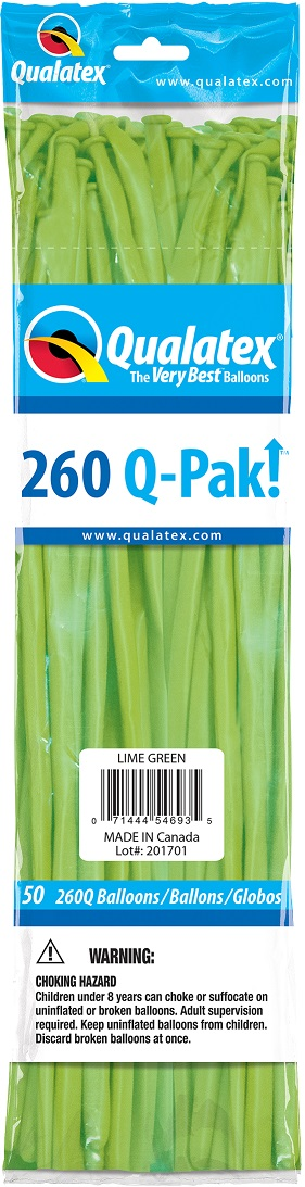 BALÃO DE LÁTEX 206Q Q-PAK VERDE LIMA - PC 50UN - QUALATEX #54693