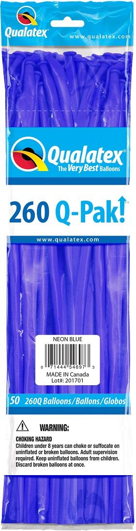 BALÃO DE LÁTEX 260Q Q-PAK AZUL NEON - PC 50UN - QUALATEX #54697