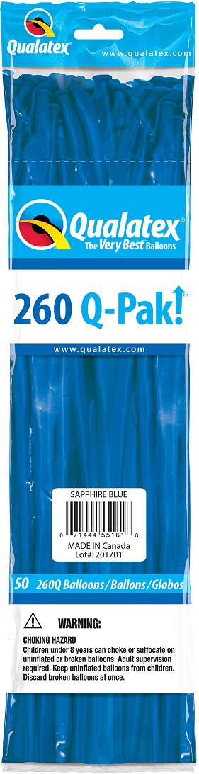 BALÃO DE LÁTEX 260Q Q-PAK AZUL SAFIRA - PC 50UN - QUALATEX #55161