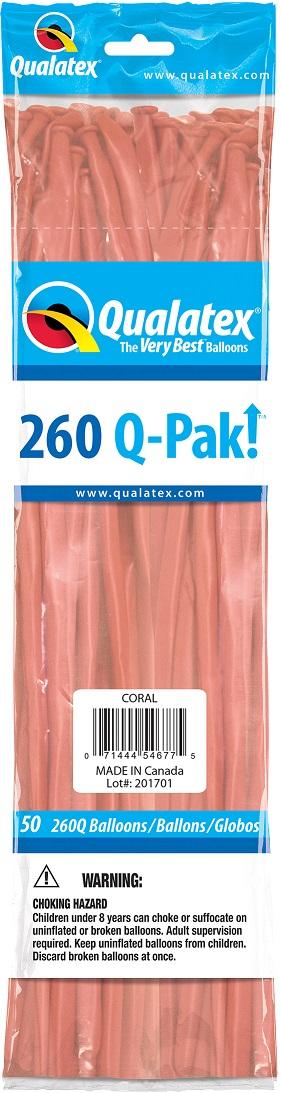 BALÃO DE LÁTEX 260Q Q-PAK CORAL - PC 50UN - QUALATEX #54677