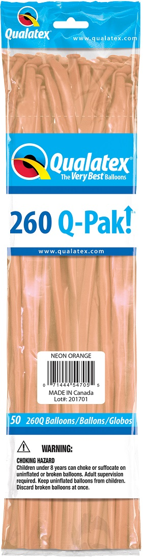 BALÃO DE LÁTEX 260Q Q-PAK LARANJA NEON - PC 50UN - QUALATEX #54705