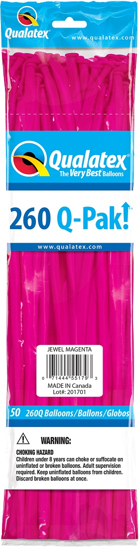 BALÃO DE LÁTEX 260Q Q-PAK MAGENTA JOIA - PC 50UN - QUALATEX #55179