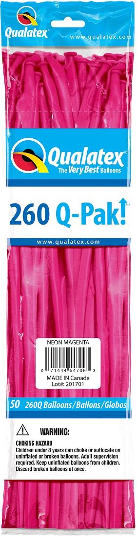 BALÃO DE LÁTEX 260Q Q-PAK MAGENTA NEON - PC 50UN - QUALATEX #54709