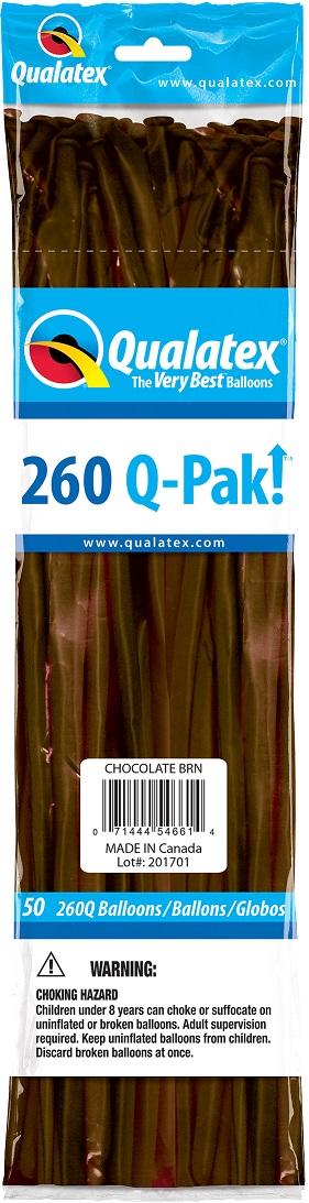 BALÃO DE LÁTEX 260Q Q-PAK MARROM CHOCOLATE - PC 50UN - QUALATEX #54661