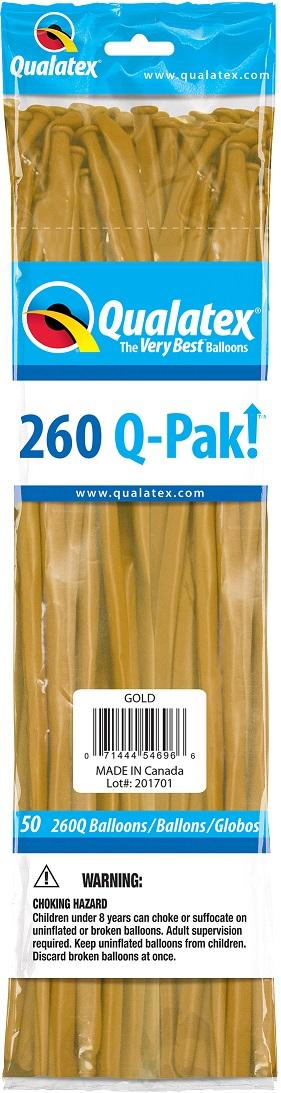 BALÃO DE LÁTEX 260Q Q-PAK OURO - PC 50UN - QUALATEX #54696