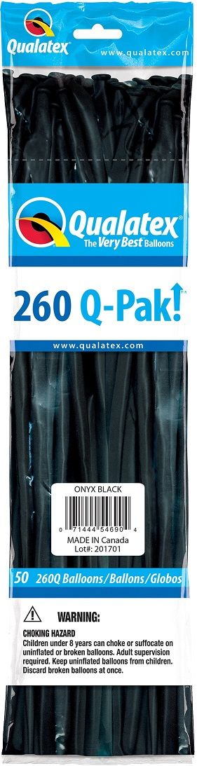 BALÃO DE LÁTEX 260Q Q-PAK PRETO ONIX - PC 50UN - QUALATEX #54690
