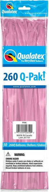 BALÃO DE LÁTEX 260Q Q-PAK ROSA PC 50UN QUALATEX #54649
