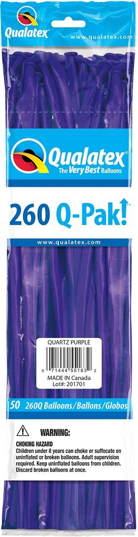BALÃO DE LÁTEX 260Q Q-PAK ROXO QUARTZO - PC 50UN - QUALATEX #55163