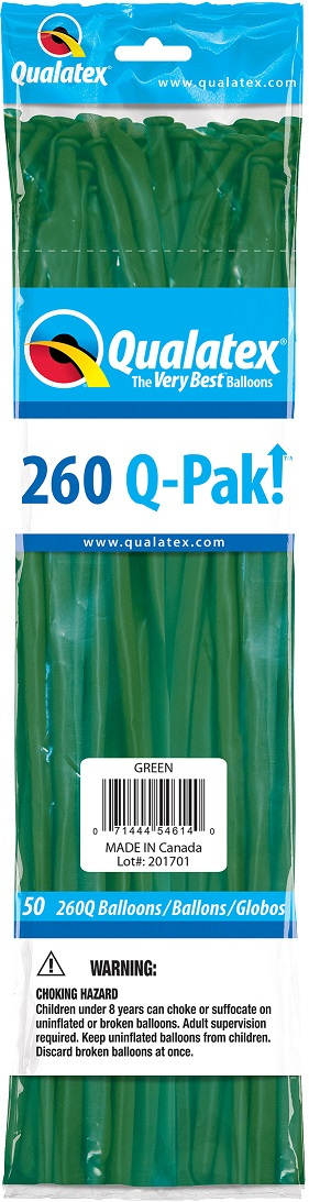 BALÃO DE LÁTEX 260Q Q-PAK VERDE - PC 50UN - QUALATEX #54614