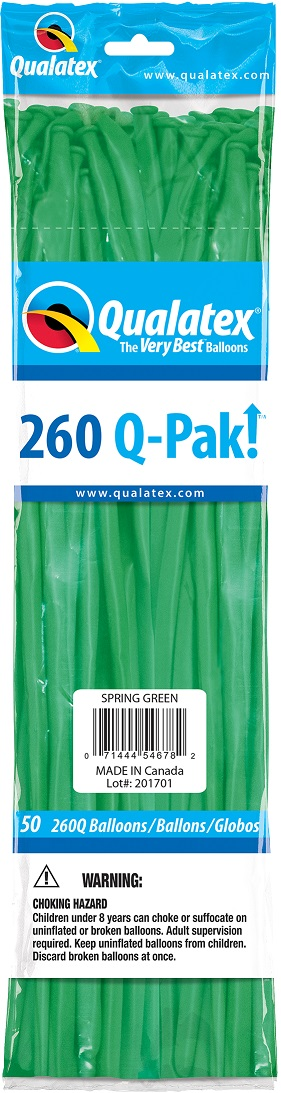 BALÃO DE LÁTEX 260Q Q-PAK VERDE PRIMAVERA - PC 50UN - QUALATEX #54678