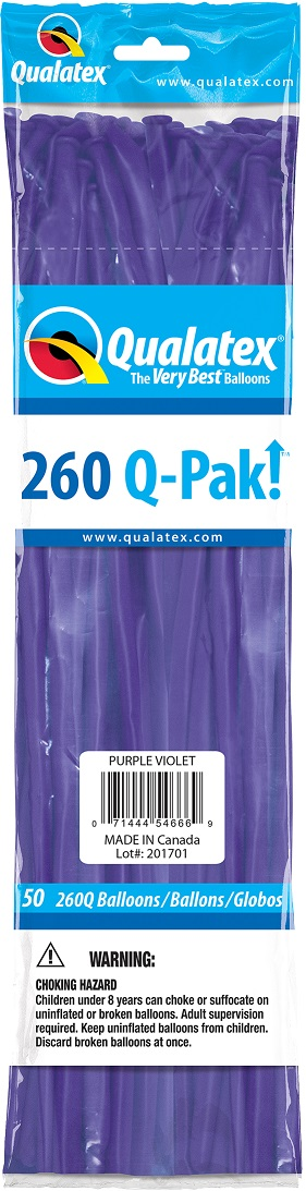 BALÃO DE LÁTEX 260Q Q-PAK VIOLETA PÚRPURA - PC 50UN - QUALATEX #54666