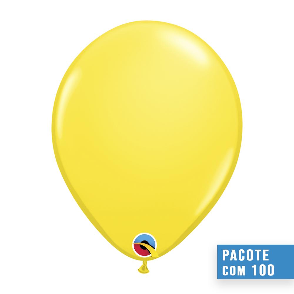 BALÃO DE LÁTEX AMARELO 9 POLEGADAS - PC 100UN - QUALATEX #43714