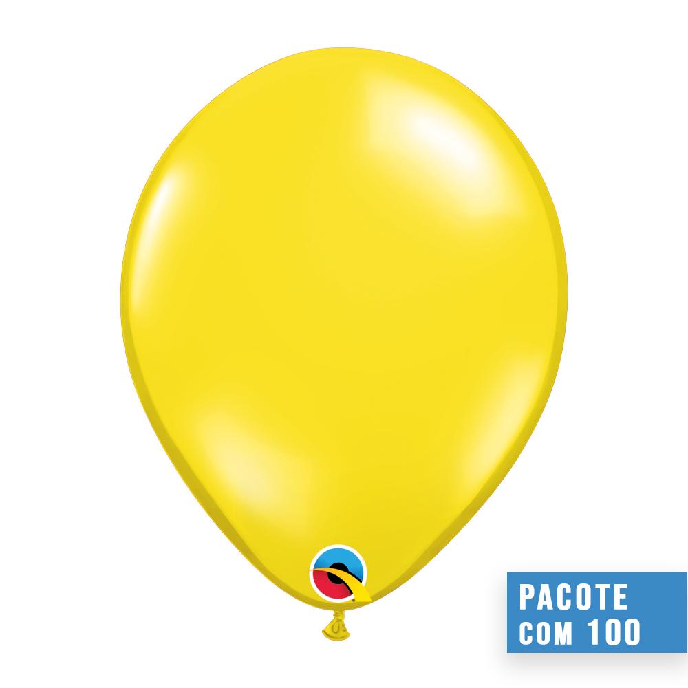 BALÃO DE LÁTEX AMARELO CITRINO JOIA 9 POLEGADAS - PC 100UN - QUALATEX #43678