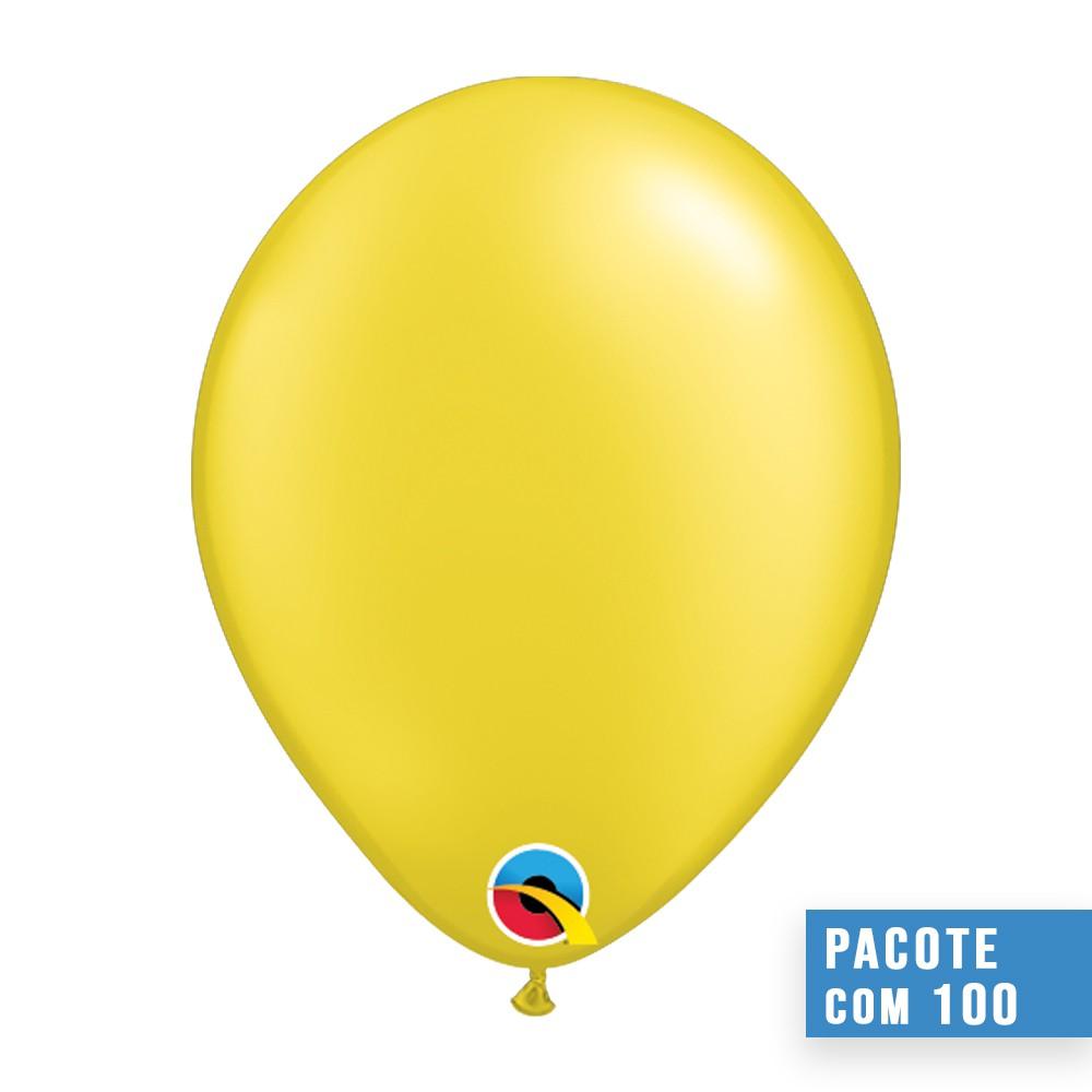 BALÃO DE LÁTEX AMARELO CITRINO PEROLADO 11 POLEGADAS - PC 100UN - QUALATEX #43771