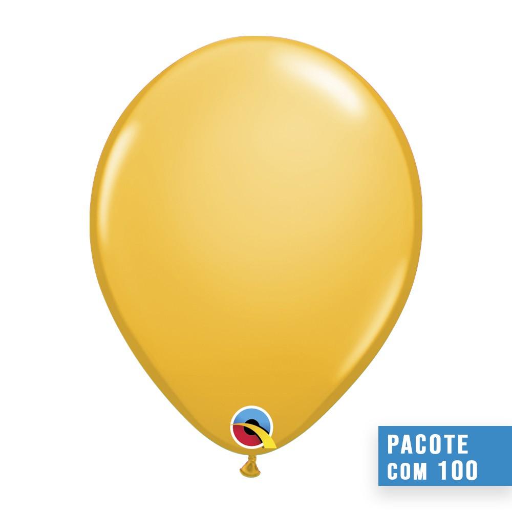 BALÃO DE LÁTEX AMARELO OURO 11 POLEGADAS - PC 100UN - QUALATEX #43748
