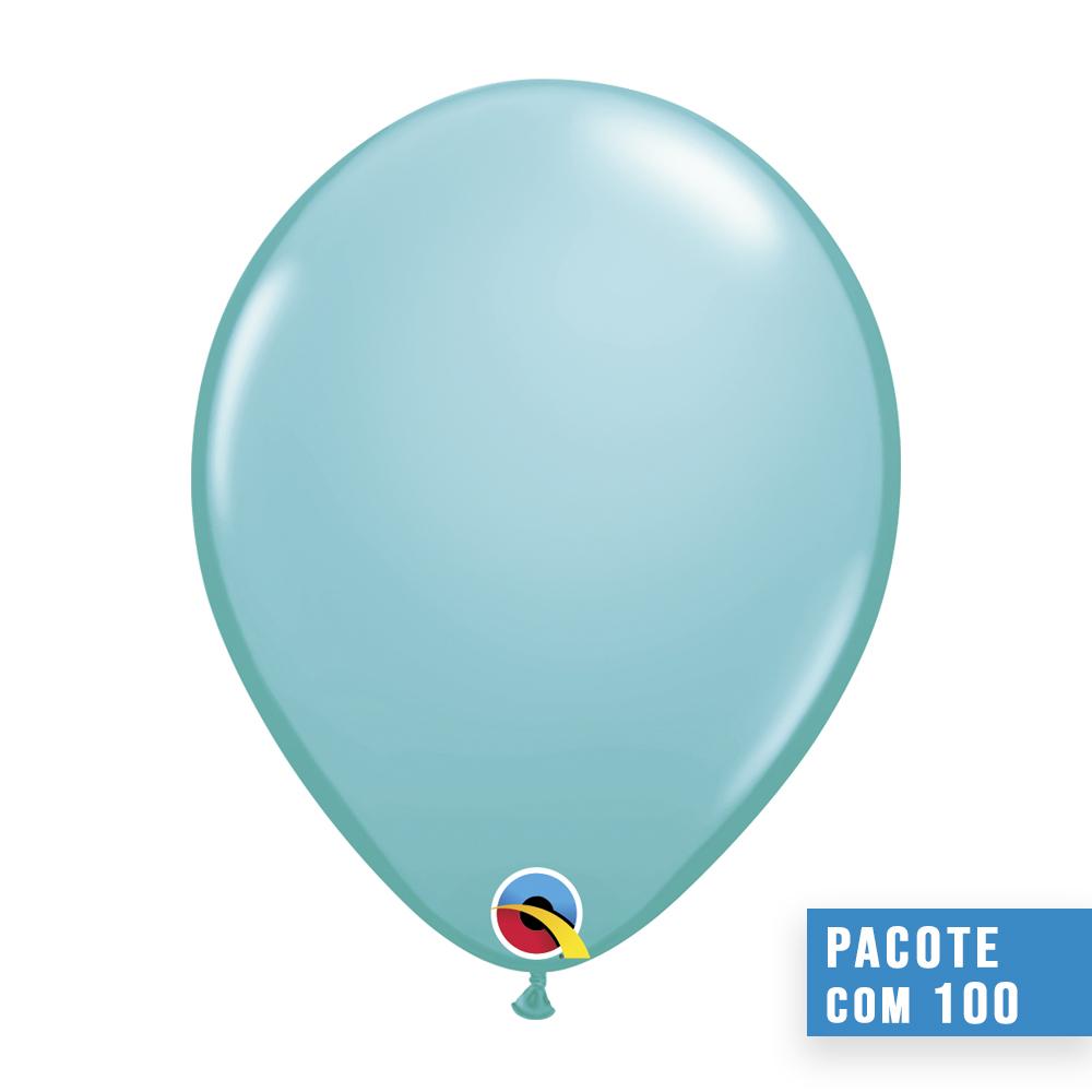 BALÃO DE LÁTEX AZUL CARIBE 11 POLEGADAS - PC 100UN - QUALATEX #50322