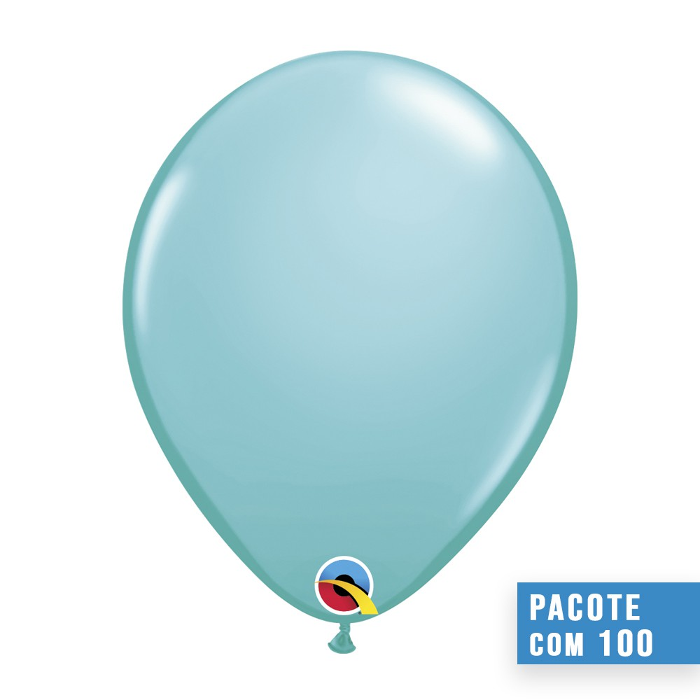 BALÃO DE LÁTEX AZUL CARIBE 5 POLEGADAS - PC 100UN - QUALATEX #50319