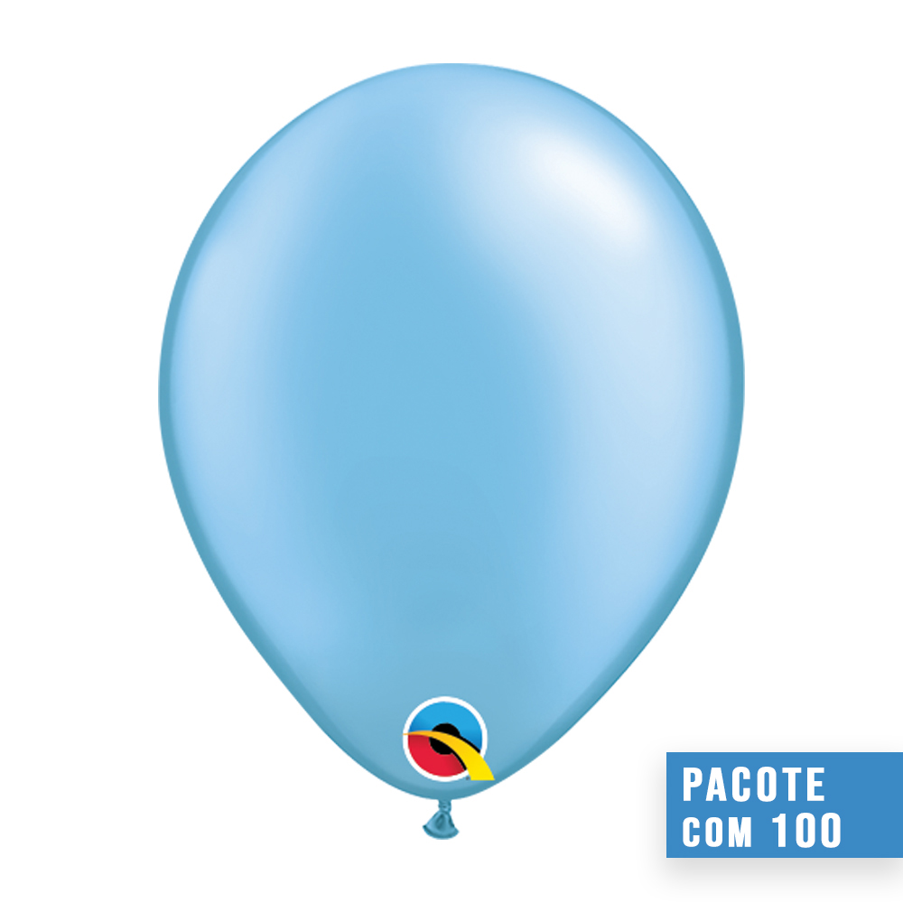 BALÃO DE LÁTEX AZUL CELESTE PEROLADO 5 POLEGADAS - PC 100UN - QUALATEX #43577