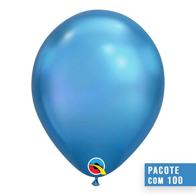 BALÃO DE LÁTEX AZUL CHROME 11 POLEGADAS - PC 100UN - QUALATEX #58272